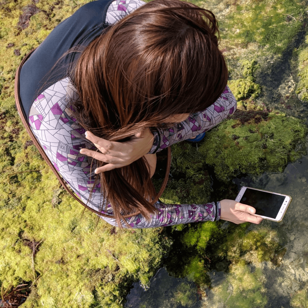 Women standing in algae with her phone out to document what she is seeing