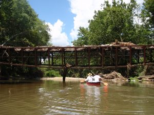 belluve soccer field foot bridge flipped over from flood 6 10